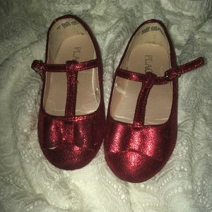 Sequined red formal flats
